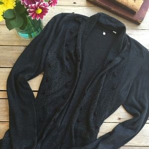 Anthropologie Knitted & Knotted Charcoal Cardigan